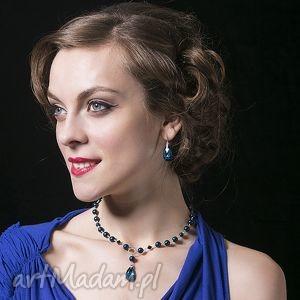 Naszyjnik Night Blue - ,srebrny,naszyjnik,swarovski,niebieski,elegancki,
