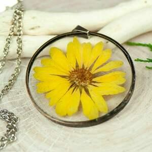 naszyjniki naszyjnik z kwiatów w cynowej ramce z427, biżuteria żywicy