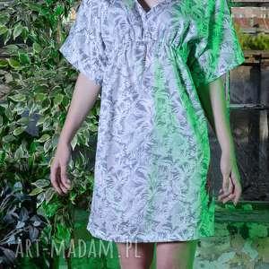 sukienka damska palme blu - boho, palmy, sukienka, dekolt, sukienka-damska