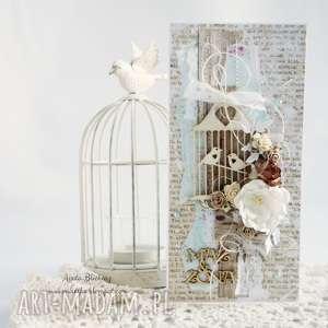 Ptaszki w klatce - kartka ślubna - ,kartka-ślubna,scrapbooking,