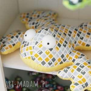 pokoik dziecka poduszka sensoryczna dla dzieci żaba gabriela szaro-żółta kratka