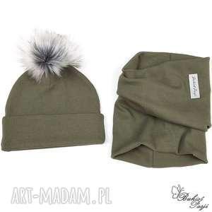 komplet jesienny czapka i komin - khaki - komplet dla dziecka, czapka z pomponem