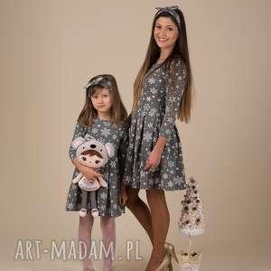 sukienki komplet sukienek śnieżynki grafitowe, dla mamy i córki