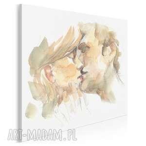 obraz na płótnie - para pocałunek miłość w kwadracie 80x80 cm 90002