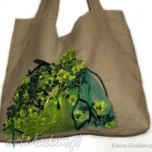handmade na ramię haftowana lniana torebka