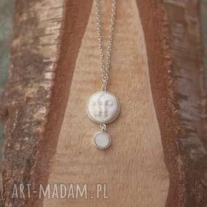 moonspell - naszyjnik z księżycem, księżyc, rzeźbiony, kość, księżycowy