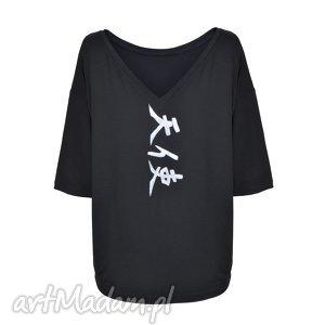 Bluzka Czarna Tensi / Angel, tunika, sukienka, wiosna, lato, malowanka, onesize