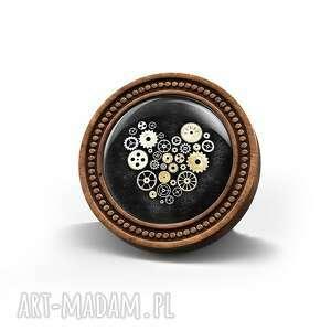 broszki broszka drewniana liliarts - steampunk heart czarne, broszka