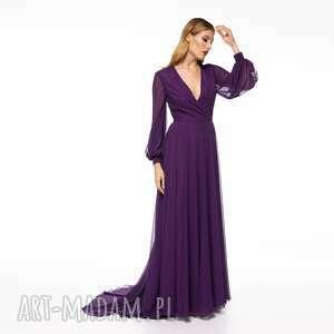 sunia slava, suknia, wesele, szyfonowa, tren, elegancka, zwiewna