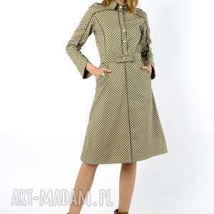 sukienki navy green - żakietowa sukienka z grubej bawełny ozdobnym paskiem
