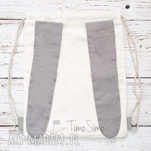 Plecak worek dla dziecka Królik (Szare uszy), len