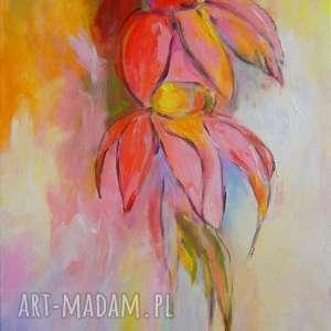 obraz na płótnie - kwiaty-abstrakcja 30/40 cm, abstrakcja, róż, zieleń, kwiaty