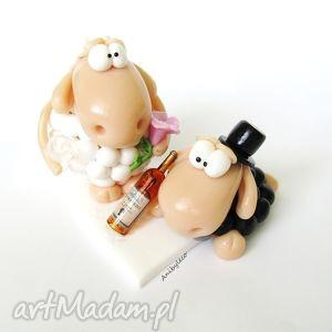 hand made ślub figurka na tort ślubny dwie owieczki i wino