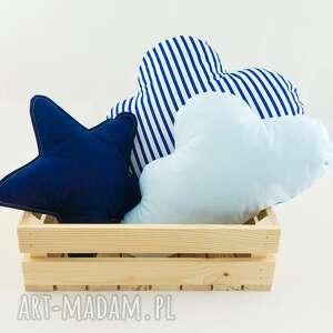 zestaw 3 poduch niebiesko-granatowy 2, marynarski, granatowa gwiazdka