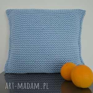 poduszka ze sznurka bawełnianego 50x50 cm - błękit, sznurek, poduszka, na-kanapę