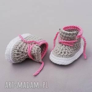 buciki carleton, buciki, trampki, dziecięce, niemowlęce, prezent, dziergane