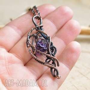 violet elegance - naszyjnik z wisiorem kryształem, wisior, biżuteria