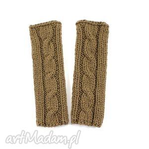 mitenki z warkoczem ręcznie dziergane handmade - mitenki, rękawiczki, warkocz