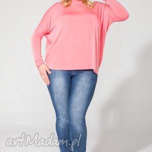 bluzki bluzka t139 różowy plus size, bluzka, dzianina, wiskoza, luźna, wygodna