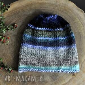 kolorowa czapka, czapki, nadrutach, jesienna, kobieca, wełniana