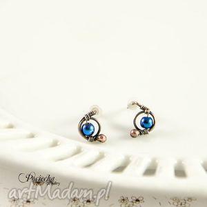 Prezent Mini hematyt blue - kolczyki sztyfty, kolczyki, wkrętki,