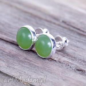 kolczyki drobinki z jadeitem -kolczyki srebrne