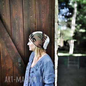 czapka damska unisex wojskowy deseń handmade, czapka, wojskowa, damska, boho