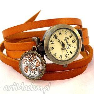 ptaszek - zegarek bransoletka na skórzanym pasku - zawieszką