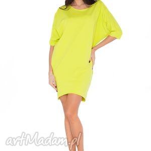 Sukienka O_5 limonka, sukienka, luźna, kimono, wygodna, kieszenie, dresówka