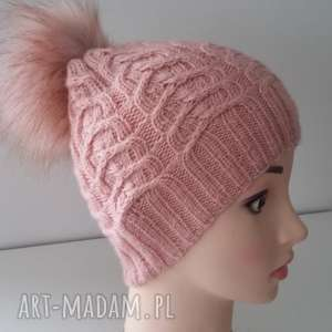 czapka zimowa ella z duŻym pomponem - czapka, sploty, druty, czapa, zima, kobieta