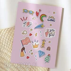 kartka okolicznościowa girl power stikers cardie, okolicznościowa