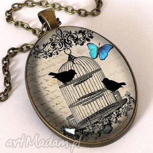 Ptaki w klatce - owalny medalion z łańcuszkiem, klatka, ptaki, retro, vintage, kolaż