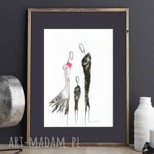 a4, ręcznie malowany, abstrakcja czarno-biała, plakat, obraz, minimalizm