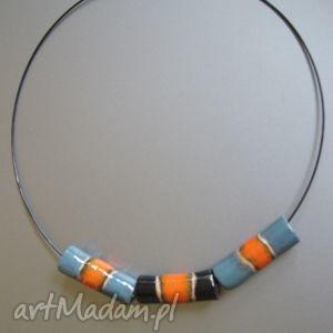 Naszyjnik kolorowe rurki, naszyjnik, biżuteria, unikatowy, ceramika