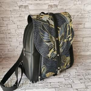 plecak - złote czaple, worek plecakoworek, prezent kwiaty ekoskóra