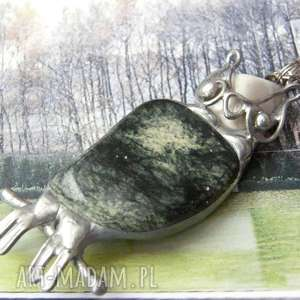 naszyjniki naszyjnik sowa z zielonym jaspisem, wisiorek sowa, sową