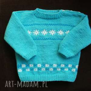 ubranka sweterek turkusowa fantazja, sweterek, rękodzieło, włóczka, niemowlę dla