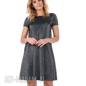 hand-made sukienki srebrna sukienka z krótkim rękawem