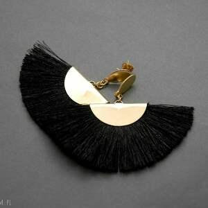 kolczyki w kolorze czarnym, sznurek, eleganckie, wiszące, wieczorowe, długie