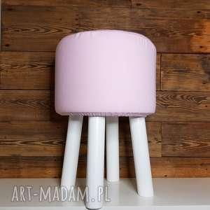 puff różowe gładki - 45 cm białe nogi, puf, puffa, stołek, taboret