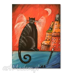 Kot stróż aleksandrab kot, koty, obraz, dziecko,