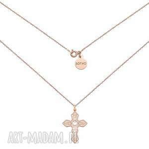 naszyjnik z ażurowym krzyżem w różowym złoceniu, naszyjnik, ażurowy, krzyż