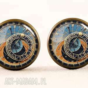 Praski zegar - Kolczyki wkrętki, praski, zegar, kolczyki, sztyfty, grafika