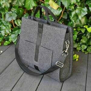 designerska torba z filcu - grafitowa, torebka filcowa, filcowe torebki