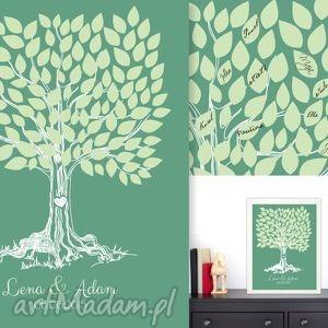 Romantyczne drzewo wpisów - 40x50 cm plakat na wesele, ślub