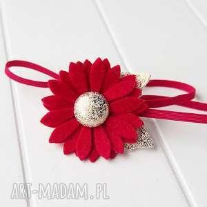 opaska do włosów z kwiatkiem czerwono złota na święta, opaska, świąteczna, filc