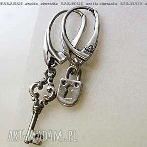 srebro kolczyki, srebrna intryga, zawieszki, srebro, koła, kluczyk