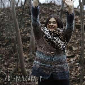 sweterek brązowo beżowy z turkusowym akcentem, sweter, wełniany, moherowy