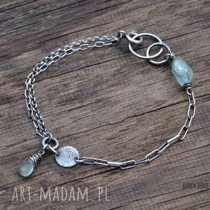 Bransoletka mini z akwamarynem, srebro, akwamaryn, mini, surowa