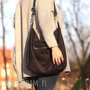 Czarna torebka zamszowa listonoszka Zipp , czarna, listonoszka, zamszowa,